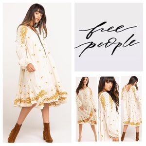 Free People Lavender Fields Embroidered Midi. NWT.